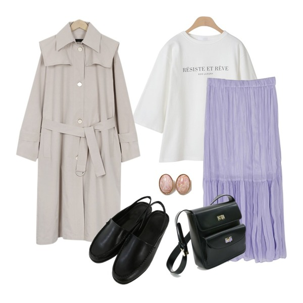 From Beginning Two-way single trench coat_K (size : free),OBBANG STYLE 에코 레터링 7부티셔츠,BANHARU crease banding long skirt등을 매치한 코디