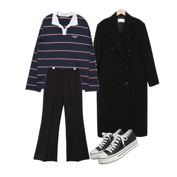 From Beginning Low double long jacket_S (size : free),common unique [BOTTOM] MODERN SEMI BOOTS LONG SLACKS,MIXXMIX Long Stripe Collar Top등을 매치한 코디