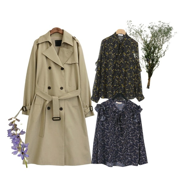 daily monday Floral frill blouse,common unique [OUTER] CLASSIC CHIC TRENCH COAT,OBBANG STYLE 벤자민 플라워 블라우스등을 매치한 코디