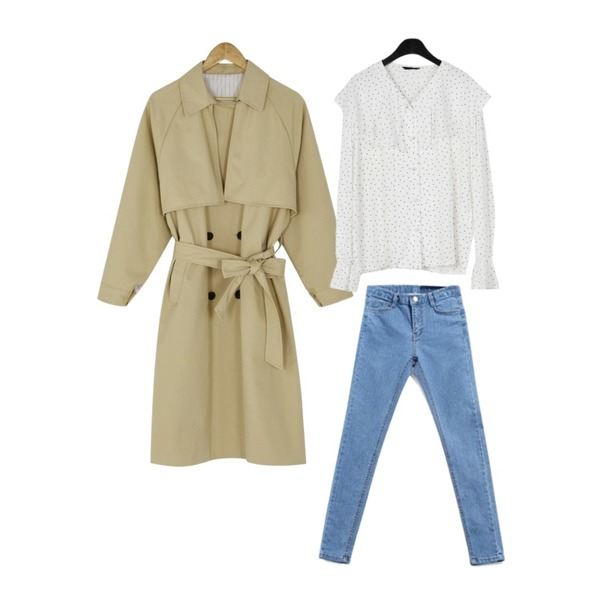 ABLY 반하이 살빠졌진 (990),daily monday Lovely collar dot blouse,BANHARU urban loose trench coat등을 매치한 코디