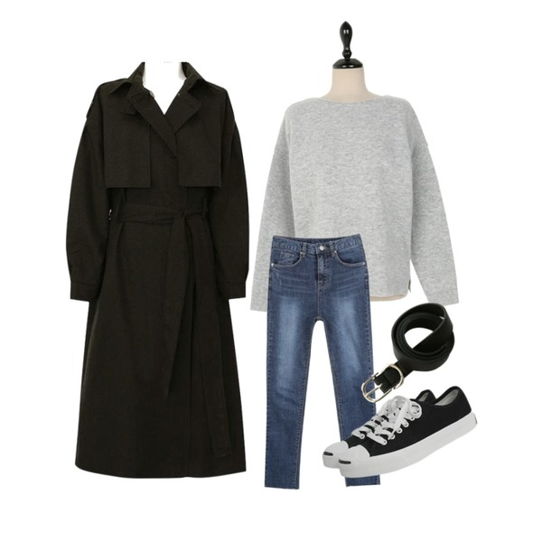 common unique [OUTER] CAPE STRAP LOOSE TRENCH COAT,myblin 데일리 디스 진,UPTOWN HOLIC 말림 입술 knit (*4color)등을 매치한 코디