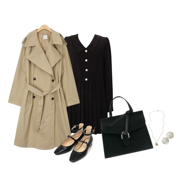AIN fresh boxy trench coat,AIN two strap shoes (230-250),common unique [OPS] ELEGANT PERL PLEATS OPS등을 매치한 코디