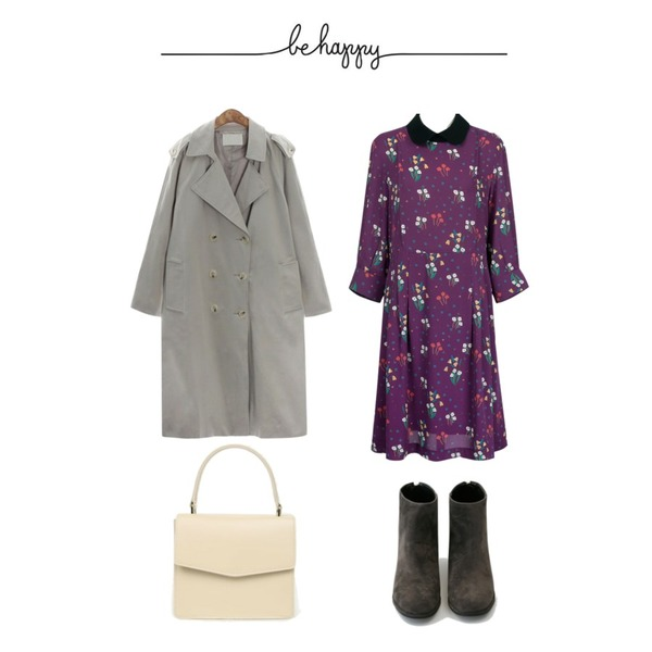 BANHARU suede basic ankle boots,From Beginning Made_ops-131_vintage collar flower ops_M (size : free),ROCOSIX swirl basic trench CT등을 매치한 코디