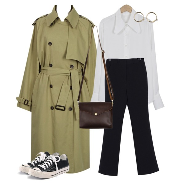 From Beginning Low collar silky blouse_K (size : free),From Beginning Wearable loose-fit slacks_K (size : S,M),From Beginning Apparel double trench coat_K (size : free)등을 매치한 코디