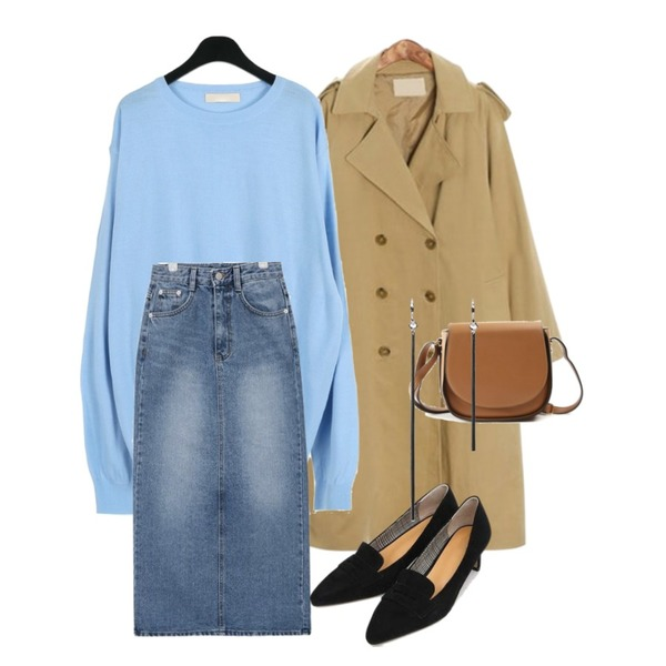 ROCOSIX swirl basic trench CT,daily monday Natural round neck knit,AIN once denim long slit skirt (s, m)등을 매치한 코디