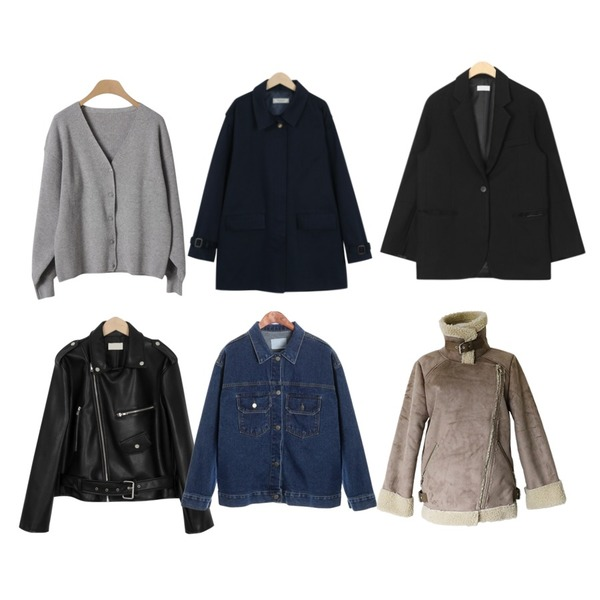 OBBANG STYLE 아로니 퍼프 브이넥가디건,From Beginning [프리오더] Made_outer-112_Tokyo half mac coat_M (size : free),AIN to single button jacket등을 매치한 코디
