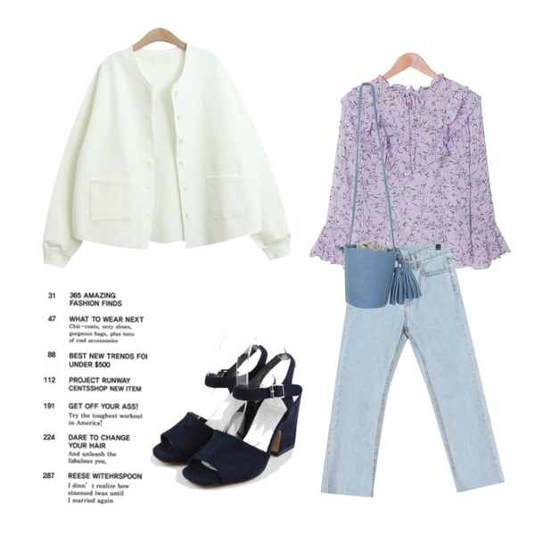 daily monday Color sandal heel,MASHYELLOW 쉬폰 플라워 프릴 리본 블라우스,daily monday Fresh cutting denim등을 매치한 코디