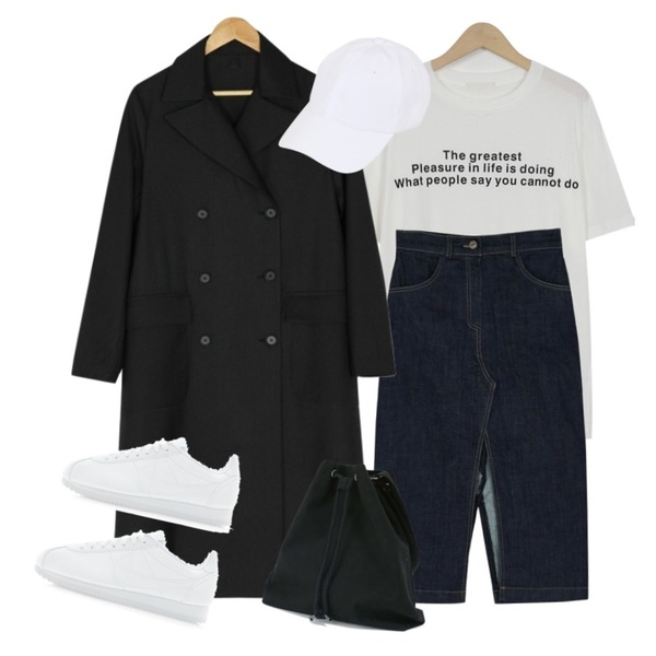 From Beginning Great lettering half T_H (size : free),BANHARU stripe pattern trench coat,BANHARU slit detail denim long skirt등을 매치한 코디