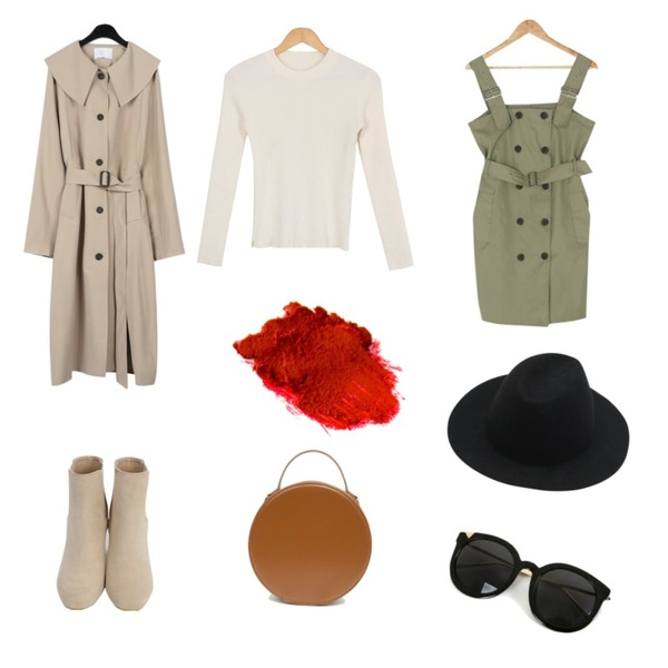 BANHARU trench mood belt set mini ops,From Beginning Chelsea ankle walker_H (size : 225,230,235,240,245,250),daily monday Girlish slit trench coat등을 매치한 코디