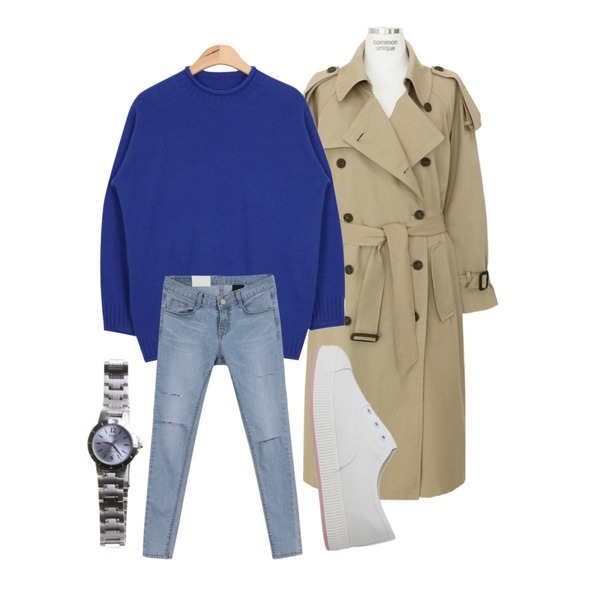 AIN rolled colorful angora knit (5 colors),MINIBBONG 폴리스-pt (160cm 9부스키니),common unique [OUTER] LOOSE FIT DAILY BELT TRENCH COAT등을 매치한 코디