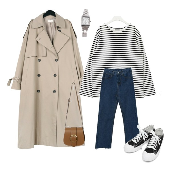 daily monday Over casual trench coat,MIXXMIX Straight Wide Pants,AIN FRESH A basic stripe T등을 매치한 코디