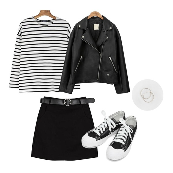 daily monday Daily stripe tee,ABLY [신아 PICK] 히트 스커트,common unique [OUTER] BLACK PLAT RIDER JACKET등을 매치한 코디