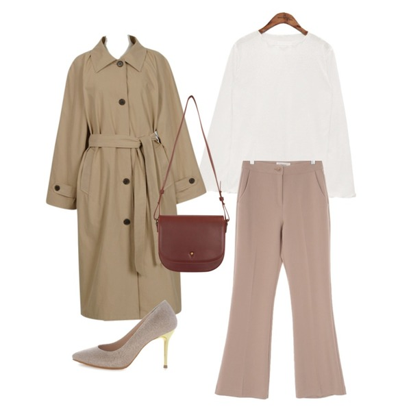 UPTOWN HOLIC ALL슬랙스 맥시부츠컷 (*8color),common unique [TOP] CREAMY RUFFLE EDGE T,From Beginning Made_outer-113_raglan single trench_B (size : free)등을 매치한 코디