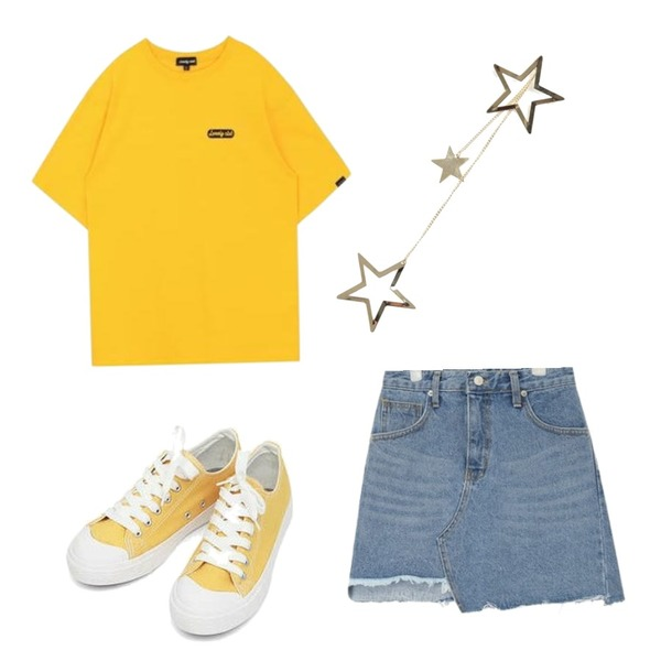 MIXXMIX Lonely Gradation top,AIN basic monday sneakers (230-250),AIN unbalance cutting skirt (s, m)등을 매치한 코디