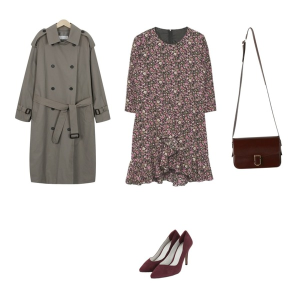 AIN suede stiletto heel (3 colors),From Beginning Skon boxy trench coat_B (size : free),MIXXMIX 프릴 플라워 원피스등을 매치한 코디
