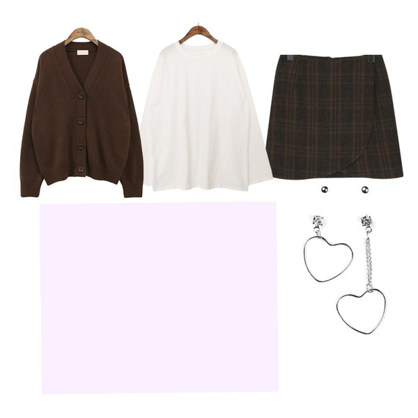 common unique [OUTER] WOOL V NECK KNIT CARDIGAN,From Beginning Noble classic check skirt_H (size : S,M),common unique [TOP] 8 COLOR BOY FIT T등을 매치한 코디