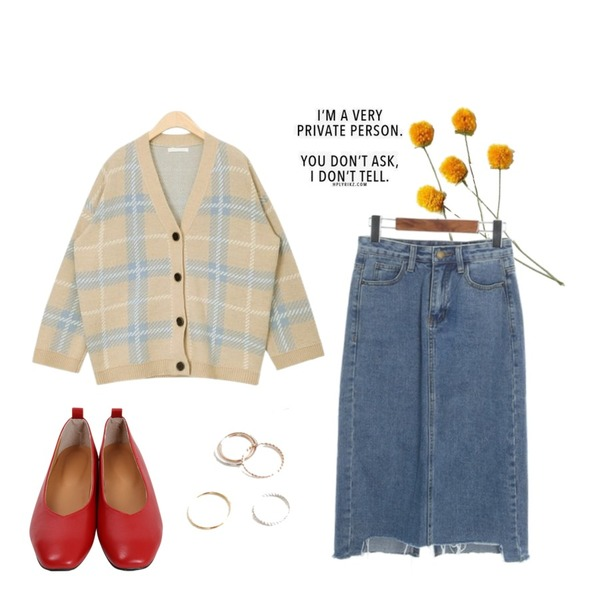 daily monday Simple basic ring set.02,From Beginning Angle toe flat shoes_K (size : 225,230,235,240,245,250),AIN penny check cardigan등을 매치한 코디