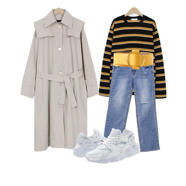 common unique [BOTTOM] MAD DAMAGE HIGH DENIM PANTS,From Beginning Triple color stripe T_S (size : free)[네이비, 블랙 27일 입고 후 순차적배송],From Beginning Two-way single trench coat_K (size : free)등을 매치한 코디