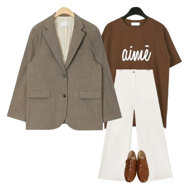 AIN formal made standard jacket,daily monday Simple lettering tee,common unique [BOTTOM] VINTAGE CUTTING BANDING PANTS등을 매치한 코디