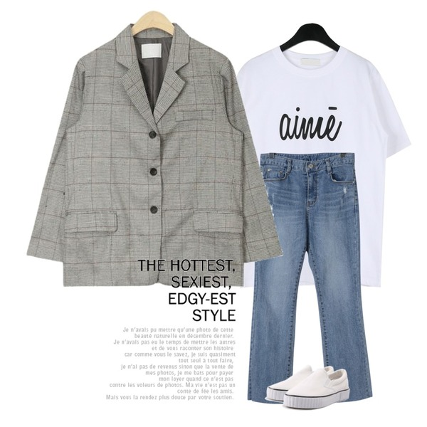 OBBANG STYLE 스크래치 일자 데님팬츠,AIN glen simple check jacket,daily monday Simple lettering tee등을 매치한 코디