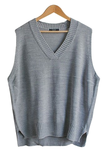 Easy loose fit v neck knit vest