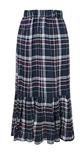 Check bending pleated long skirt