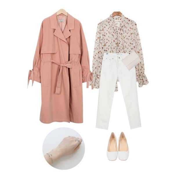 From Beginning Made_outer-061_open string trench coat (size : free),common unique [TOP] FLORAL SOLID BLOUSE,daily monday Classy easy cotton pants등을 매치한 코디