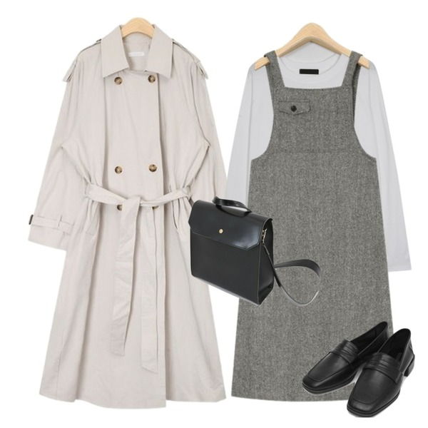 AIN over long trench coat,AIN retro theme ops,From Beginning Simple raglan sleeve T_M (size : free)등을 매치한 코디