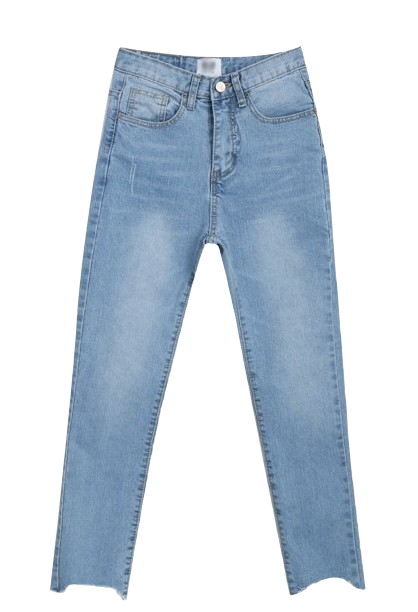 Ankle cutting light blue jean
