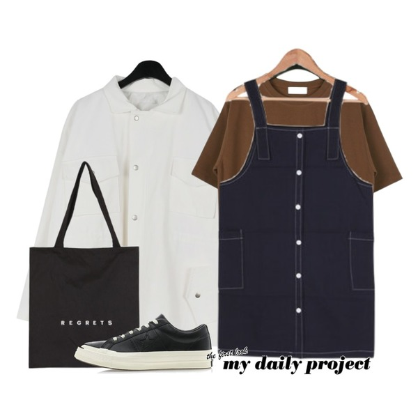daily monday Dart over fit jacket,daily monday Simple lettering tee,BULLANG GIRL 총총걸음OPS등을 매치한 코디