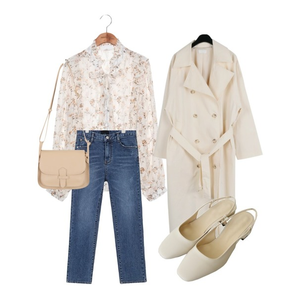 AIN milk slim denim pants (s, m, l),daily monday Button cross long trench coat,common unique [TOP] PEONY FLOWER SEETHROUGH BLOUSE등을 매치한 코디