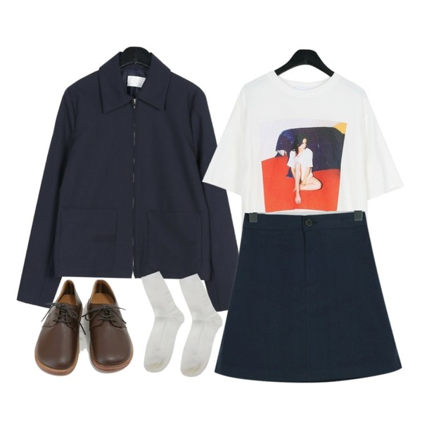 From Beginning Spring a-line cotton skirt_M (size : free),daily monday Sensual printing tee,daily monday Awesome simple jacket등을 매치한 코디