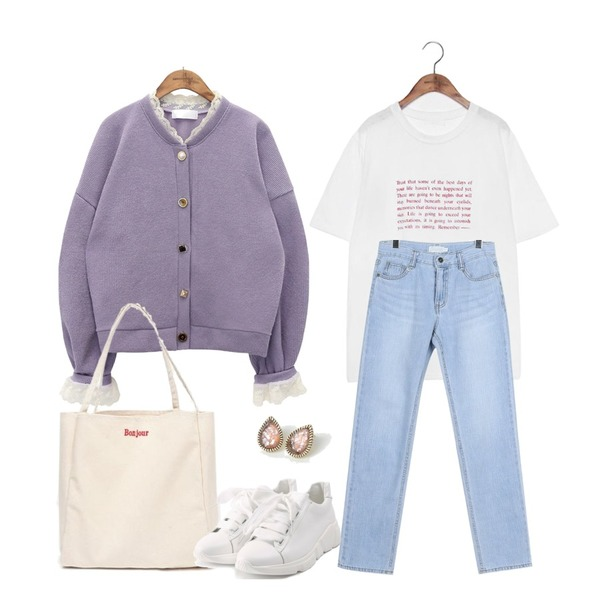 common unique [OUTER] LOVELY LACE JEWELRY CARDIGAN,daily monday Cool lignt denim pants,common unique [TOP] ENGLISH WISE SAYING 1/2 T등을 매치한 코디