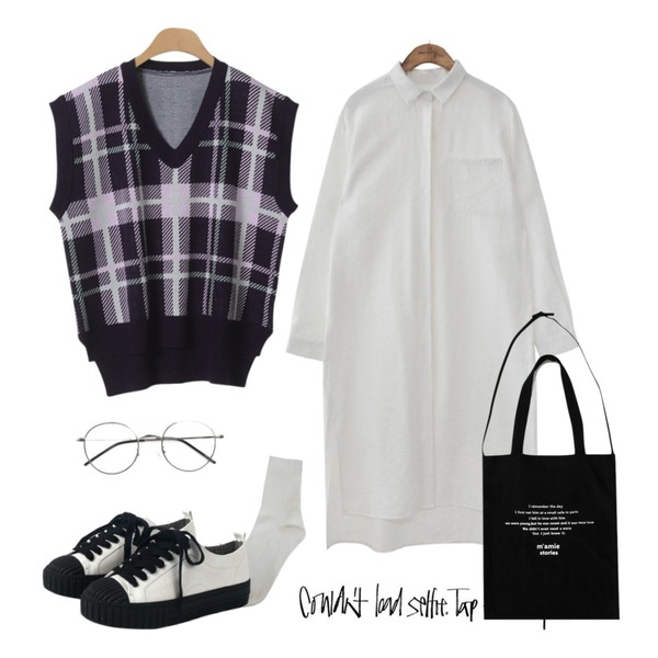 insta@thewriting,common unique [OPS] HIDDEN BUTTON SLIT SHIRTS OPS,OBBANG STYLE 포근 체크 니트베스트등을 매치한 코디