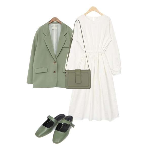 common unique [OUTER] DANDY OVER FIT JACKET,AIN merry long natural ops,AIN zoo buckle mule (230-250)등을 매치한 코디