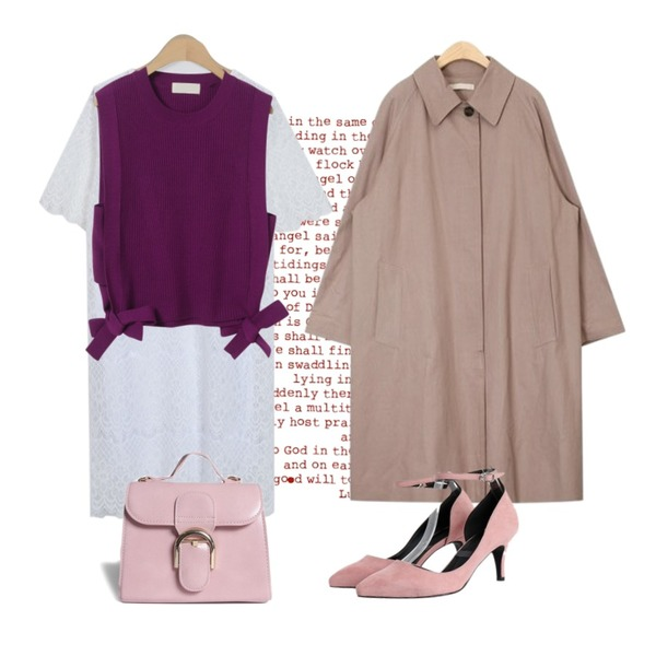 4,AIN house inner check coat,From Beginning Shine lace point ops_K (size : free)등을 매치한 코디