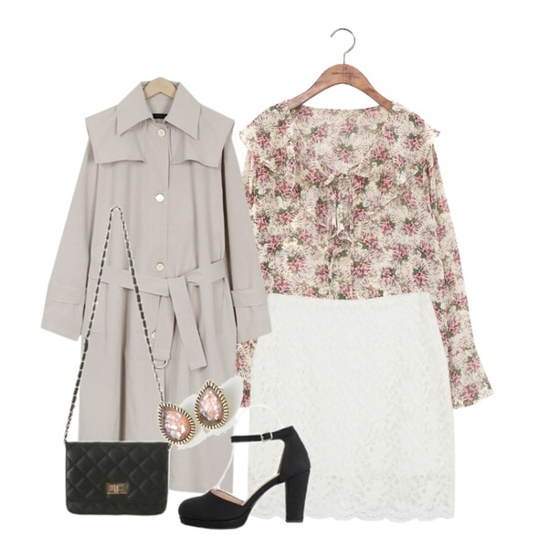 From Beginning Two-way single trench coat_K (size : free),AWAB 에이린레이스스커트,common unique [TOP] WAXFLOWER RUFFLE BLOUSE등을 매치한 코디