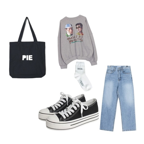 AIN pie eco bag,daily monday Broaden denim pants,biznshoe Boys printing boxy mtm (4color)등을 매치한 코디