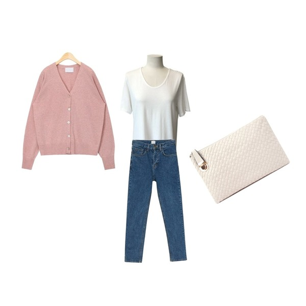BANHARU slim straight napping jean,AIN spring colourway wool cardigan,MESMIN 심플 U넥 반소매 탑등을 매치한 코디