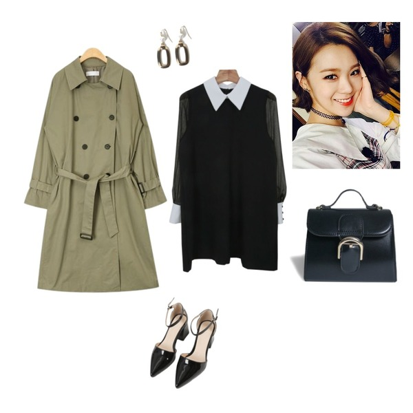 MINIBBONG 셔플-sh,Zemma World Something-원피스[size:44~66 / 1color],AIN sleeve check point trench coat등을 매치한 코디