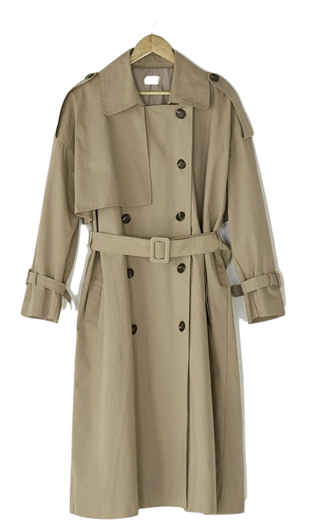 natural double button trench coat