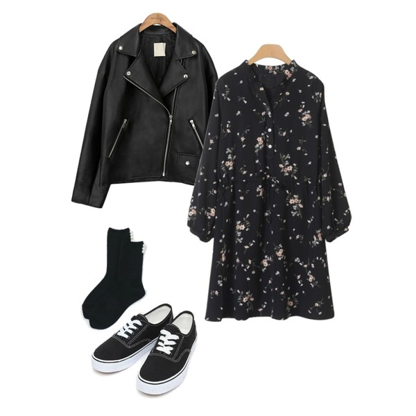 common unique [OUTER] BLACK PLAT RIDER JACKET,AIN daily casual sneakers (230-250),OBBANG STYLE 라일락 플라워 미니원피스등을 매치한 코디