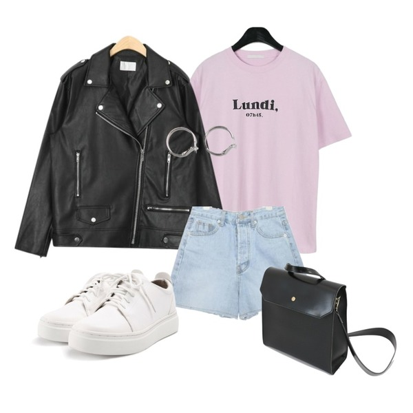 daily monday Lundi half sleeve tee,From Beginning Hook circle earring_S (size : one),AIN boxy fit unique rider jacket등을 매치한 코디