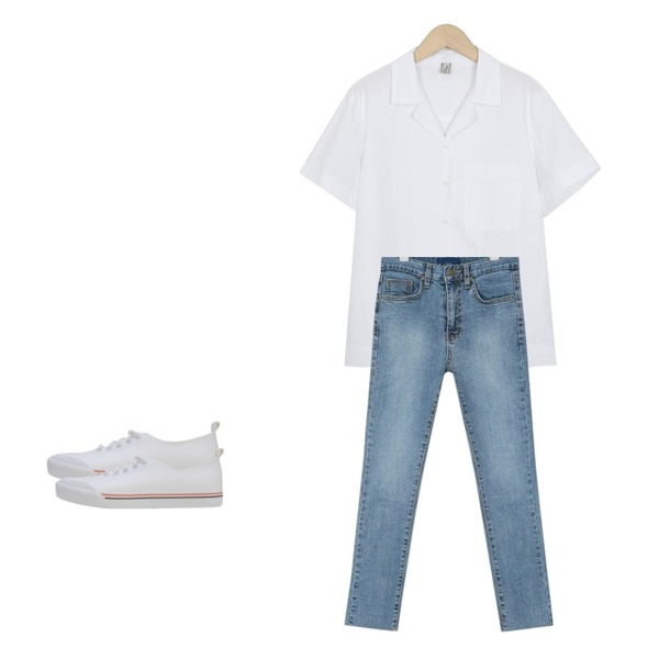 LOVELY SHOES 모빈 스니커즈 (1.5cm),From Beginning Made_top-175_paper collar shirts (size : free),AIN grown straight denim pants (25-29)등을 매치한 코디