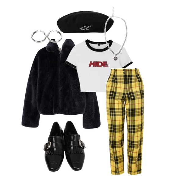 MIXXMIX HIDE Logo Color Crop Top,MIXXMIX Time To Check Beret,From Beginning Fade fur zip-up jacket_H (size : free)등을 매치한 코디