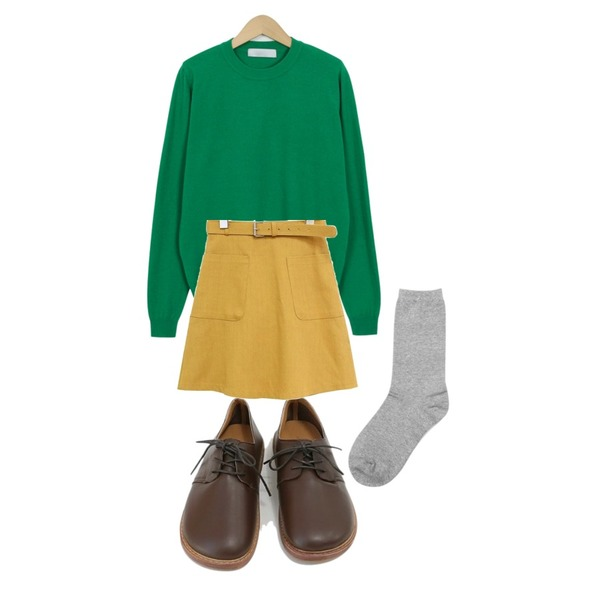 From Beginning Vivid spring knit_H (size : free),AIN muji long socks,daily monday Cozy wide sole loafer등을 매치한 코디