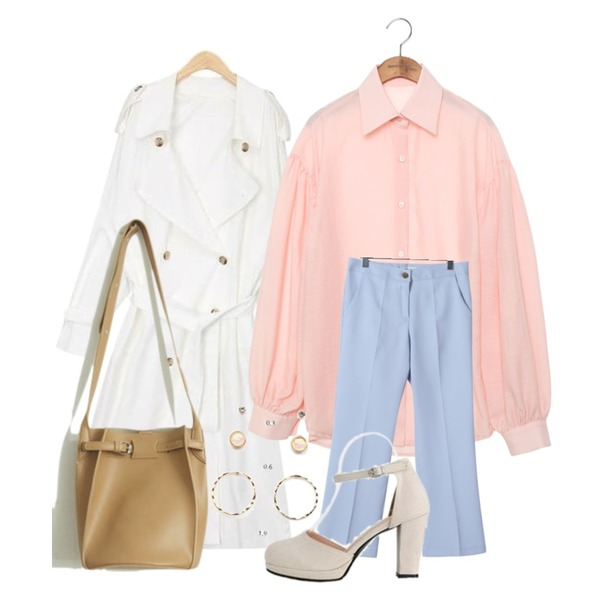 OBBANG STYLE 노앙 부츠컷 9부슬랙스,AIN dress codi trench coat,common unique [TOP] GRACEFUL PUFF BALLOON SHIRTS등을 매치한 코디