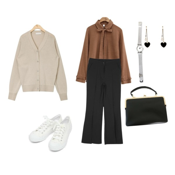 CHLO.D.MANON 멋쁨 슬릿 트임슬랙스,common unique [TOP] BROWNIE FRILL TIE BLOUSE,AIN low daily v-neck wool cardigan등을 매치한 코디