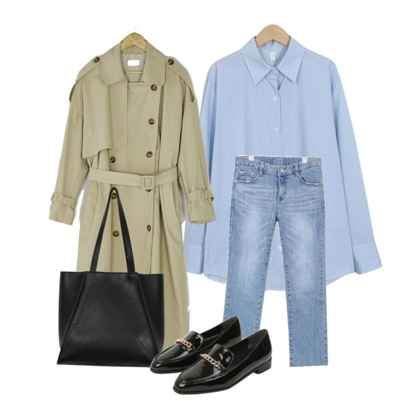 BANHARU natural double button trench coat,From Beginning Calm fresh stripe shirts_S (size : free),AIN bas line denim pants (s, m, l)등을 매치한 코디