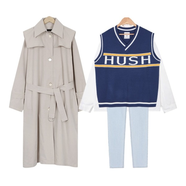 MIXXMIX 365BASIC스트레이트 진Light blue,From Beginning Two-way single trench coat_K (size : free),AIN one day basic shirts등을 매치한 코디